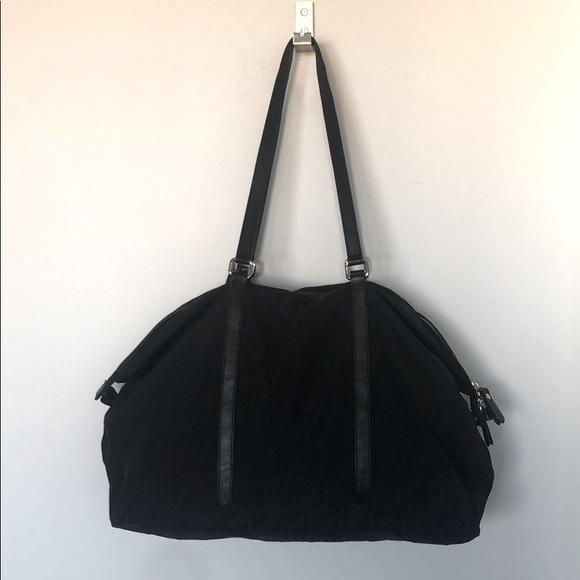 Fendi black canvas weekend duffel and dust bag